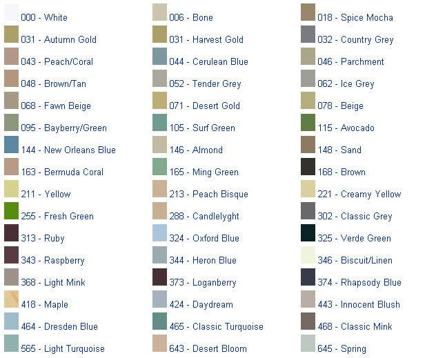 Kohler Tub Colors : that Sherwin Williams Home Depot or Lowes offers on a color chart
